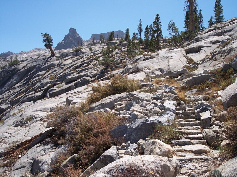 Stone stairs lead up to Silliman Pass.