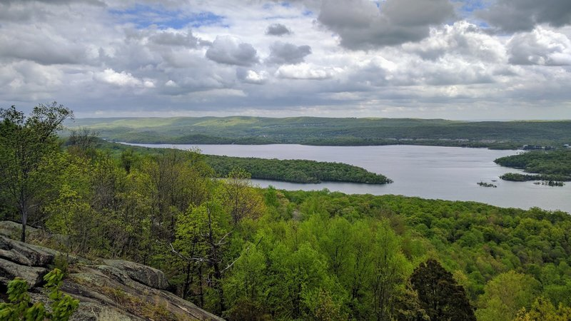 When descending Carris Hill, be sure to scramble up a huge rock outcrop to take in this view of Wanaque Reservoir.