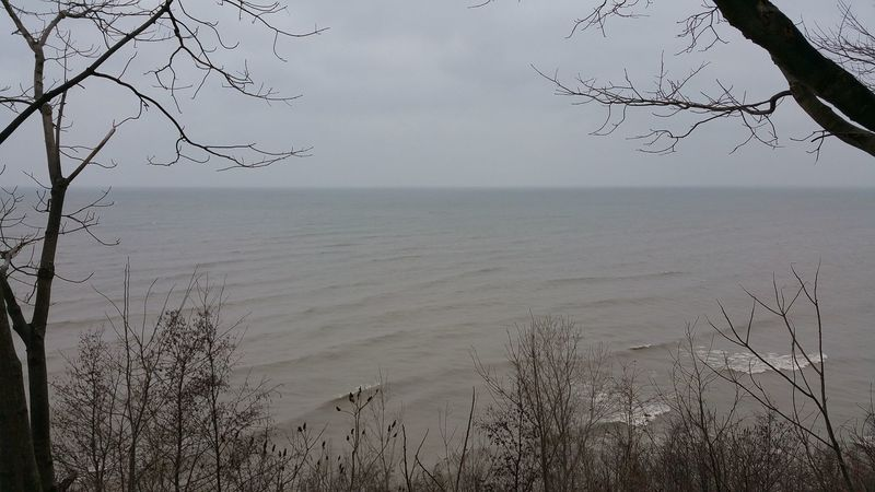 Enjoy pleasant views of the lake from the Erie Bluffs Trail.
