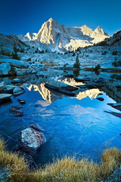 Sailor Lake: Picture Peak and Sailor Lake await in the Sabrina Basin, High Sierra, California.
