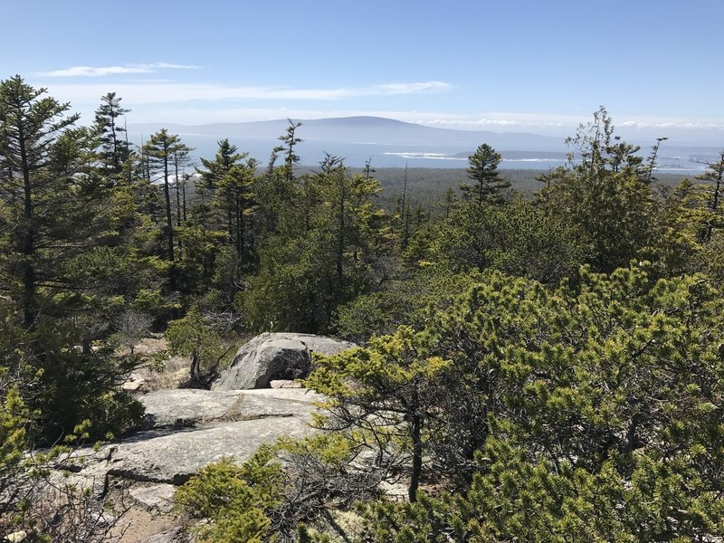 Near the top of the Ranger Station Trail, where it connects with Anvil and East Trail, you can see Cadillac Mountain and Bar Harbor off in the distance.