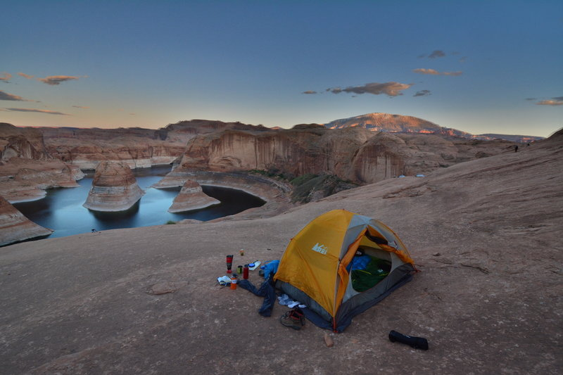 Camping on slickrock at Reflection Canyon is like nothing else.