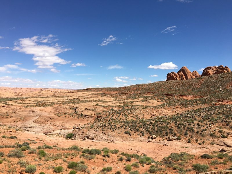 This is the landscape along an early section of the Reflection Canyon Trail.