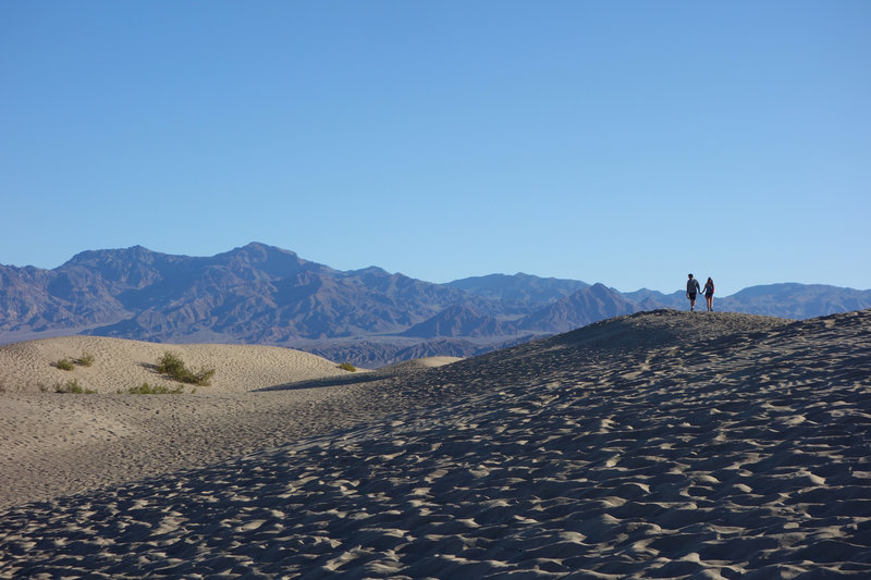 A couple hikes the Mesquite Sand Dunes.