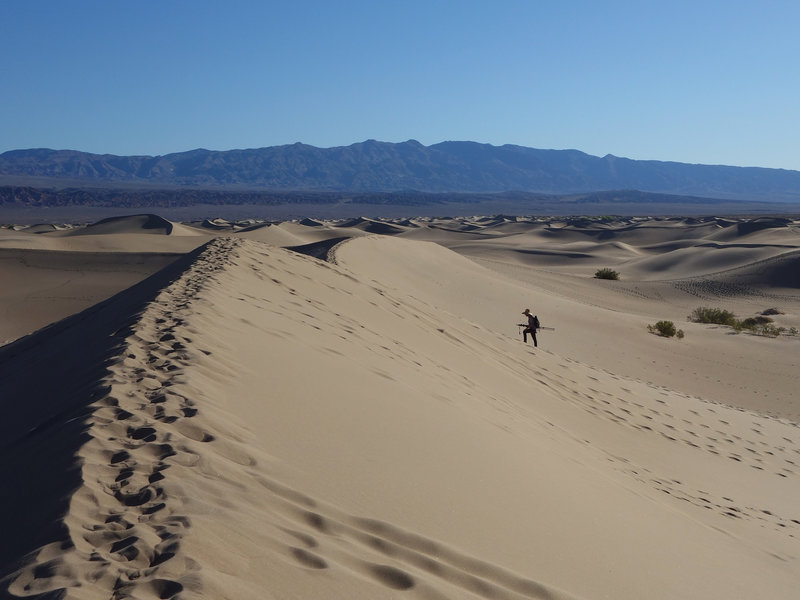 A photographer ascends a dune at Mesquite Sand Dunes.