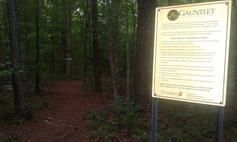 The entrance to the Gauntlet Fitness and Walking Trail is marked by this sign detailing the trail rules and regulations.
