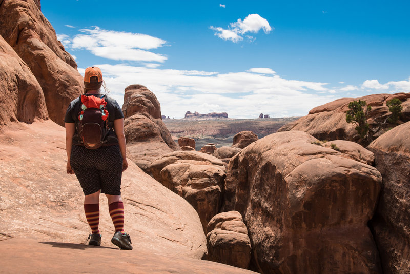 Ashley takes in the dramatic view that surrounds the Fiery Furnace.