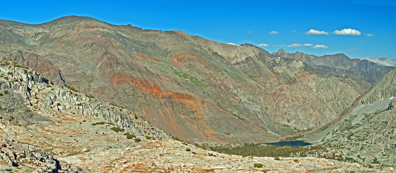 This view is looking down Goddard Creek toward the Ragged Spur with the Black Divide in the distance.