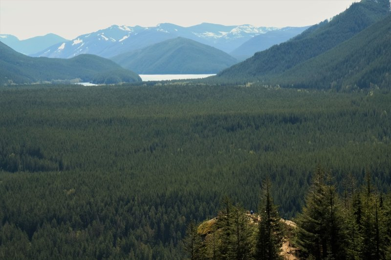 You can barely make out the hikers on Rattlesnake Ledge.