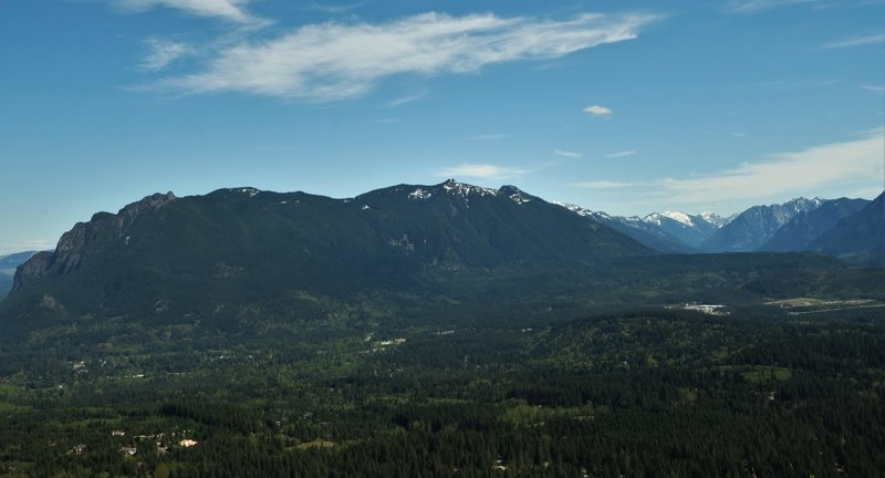 You'll receive a beautiful view of Mt. Si from Rattlesnake Ledge on a sunny, clear morning.