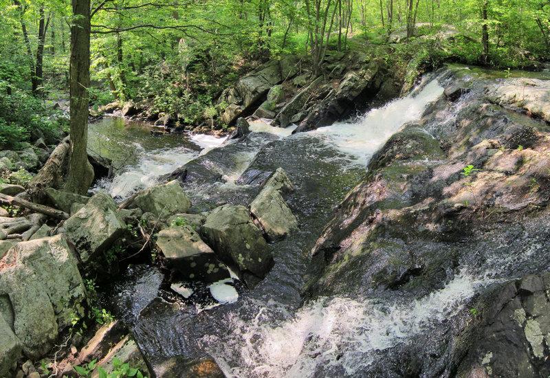 Posts Brook waterfall cascades alongside Norvin Green State Forest's Hewitt-Butler trail.