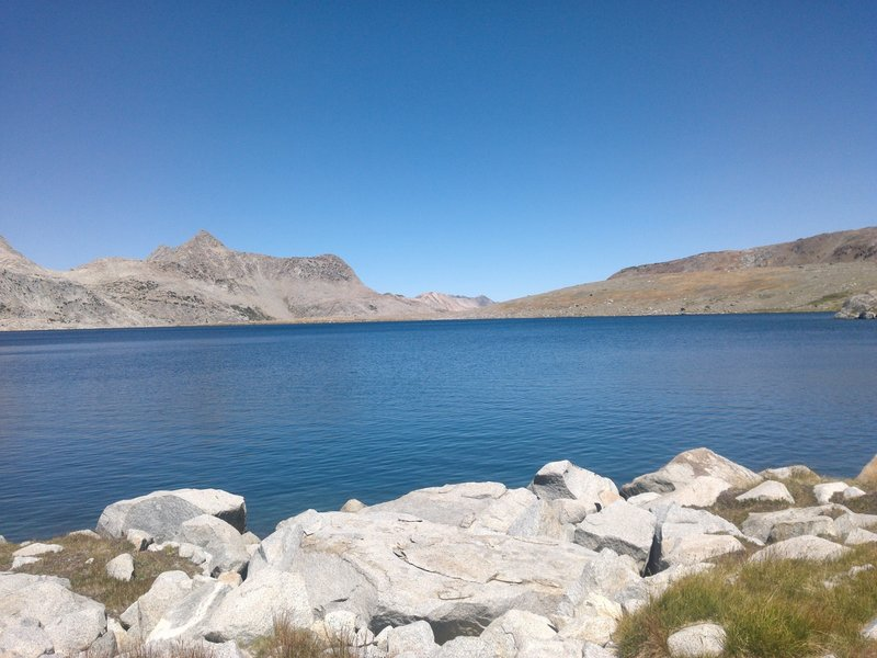 Shades of blue are all you'll see looking out over Martha Lake.