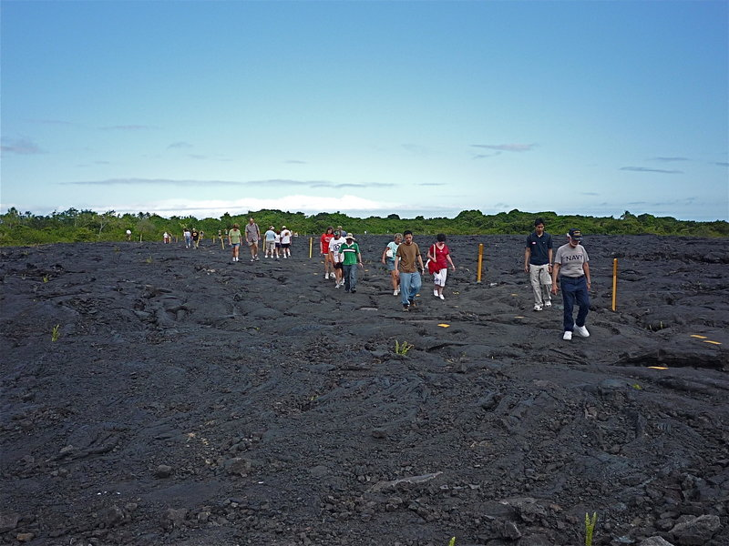 A host of amateur volcanologists heads to the Kamokuna Ocean Entry lava flow.