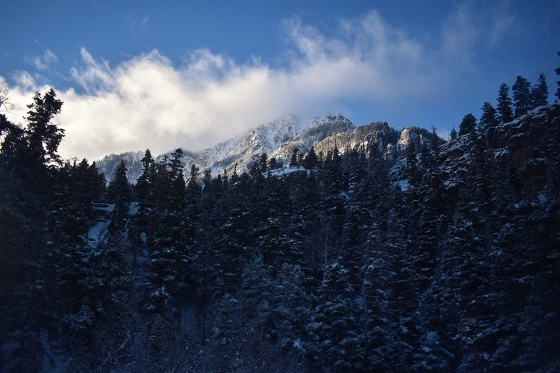 A storm moves in on the Sutton Mine Trail. Despite heightened avalanche conditions, the trail is a thrill both in summer and winter.