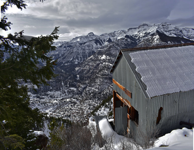 The view is expansive looking down on Ouray from the machine shop of the Chief Ouray Mine.