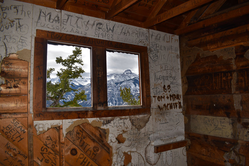 Inside the boardinghouse, you can still catch a glimpse of Potosi Peak.