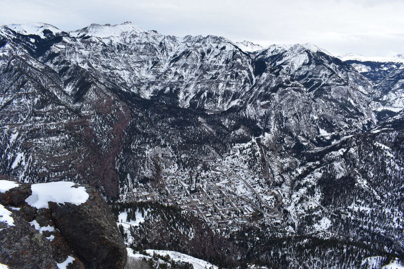 Ouray and the Amphitheater shine after a dusting of snow.