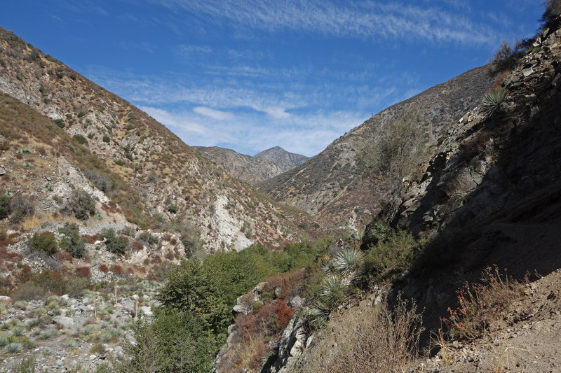 The Bridge to Nowhere Trail travels above the San Gabriel River.