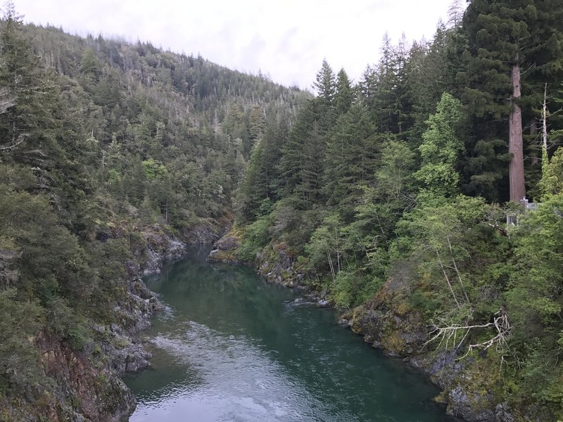 Enjoy beautiful views of the South Fork Smith River from the bridge near the Craigs Creek Trailhead.