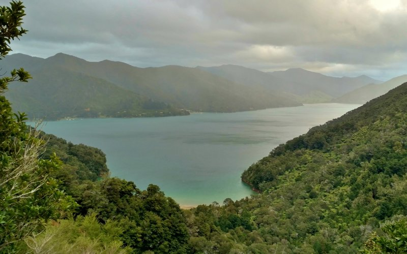 Enjoy great views looking down Queen Charlotte Sound toward Anakiwa from the Queen Charlotte Track.