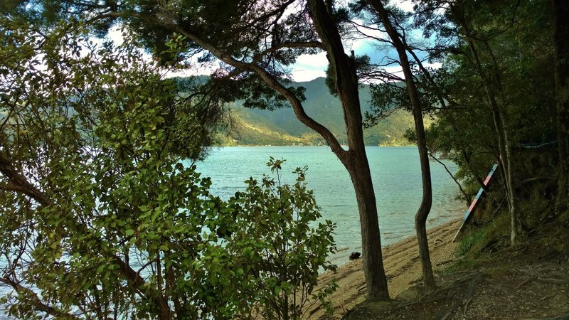 There's a nice beach at Dave's Bay, a campground on the Queen Charlotte Track.