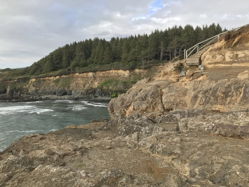 The staircase at Megwil Point leads to an awesome coastal vantage point right on the bluff.
