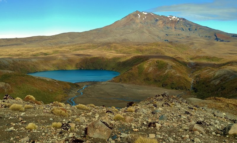 Lower Tama Lake and Mt. Ruapehu are quite beautiful when seen from the Tama Lakes Track.