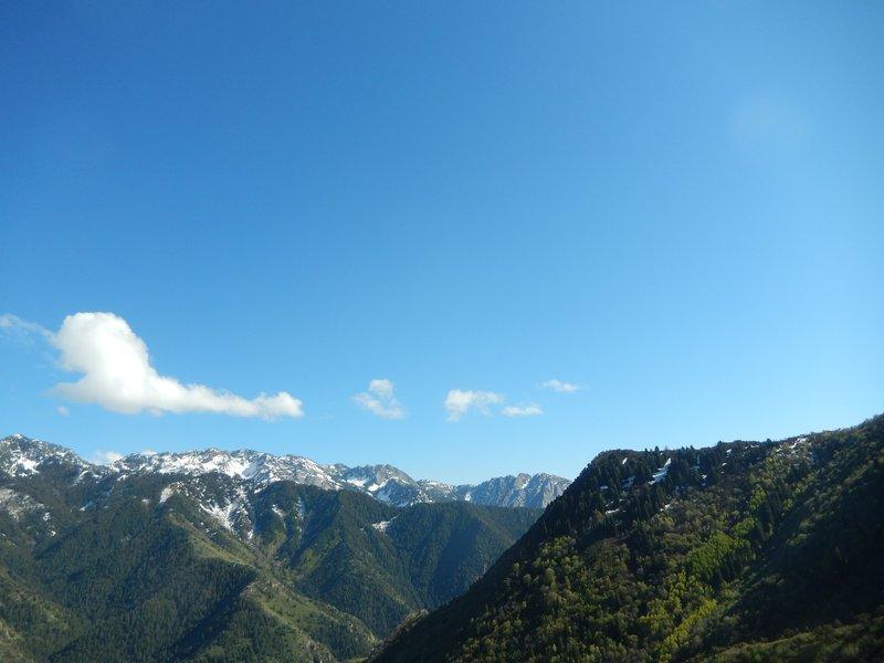 The east shoulder of Grandeur Peak poses with Mt. Olympus and Hobb's Peak in the background.