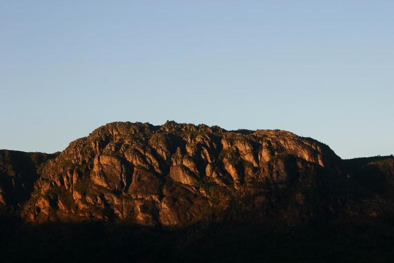 Andorinha´s mountain range seen in the glowing light of sunset from the Ostra Trail.
