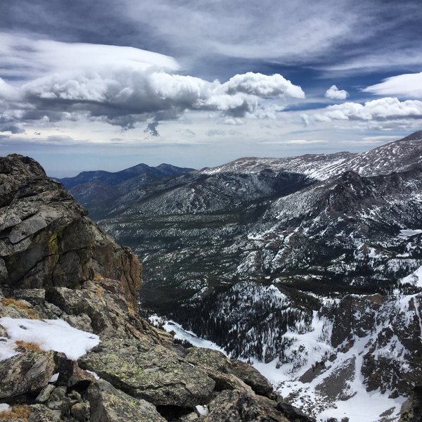 View near top of Flattop Mountain in late April.