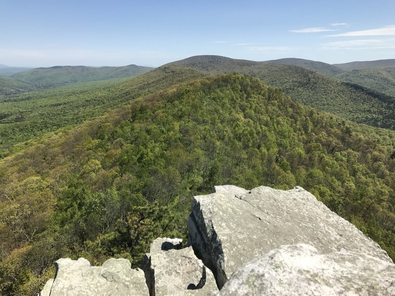 This rock outcropping provides an excellent vantage point overlooking the nearby tree covered hills.