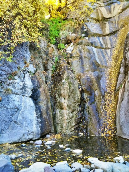 The waterfall at the end of Filmore Canyon is spectacular in the fall.