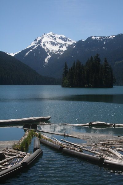 In summer, enjoy beautiful views from the outlet of Packwood Lake.
