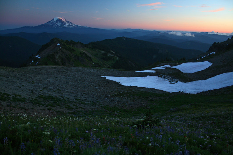 Post-sunset light glimmers on Mt. Adams.