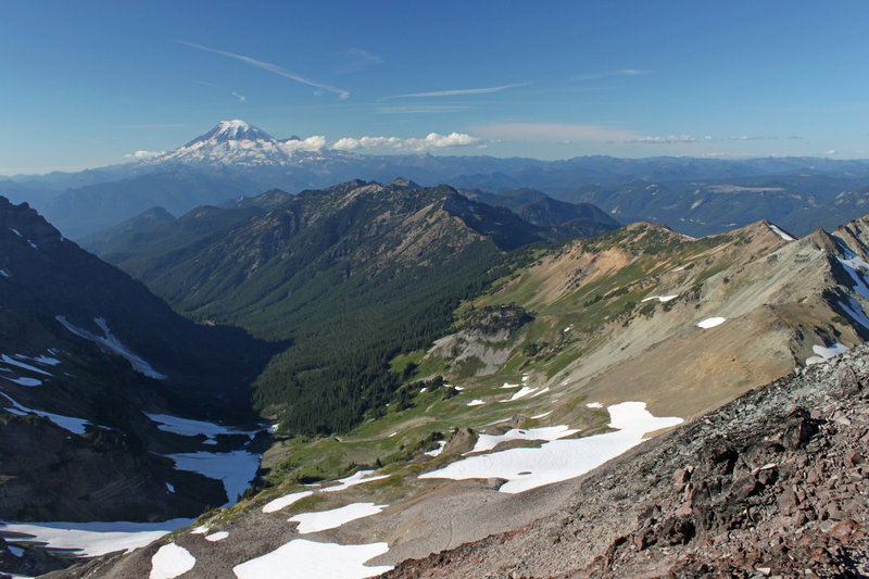 The views are spectacular looking down the drainage toward Packwood Lake and Mt. Rainier.