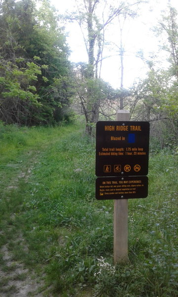 High Ridge Trailhead is marked by this sturdy sign.
