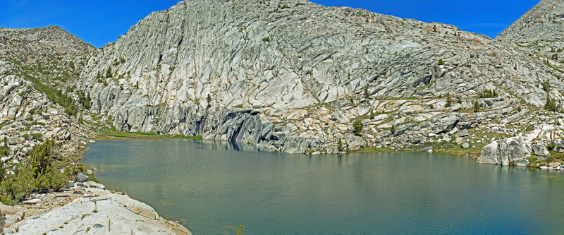 Six Shooter Lake is surrounded by beautifully cracked granite.