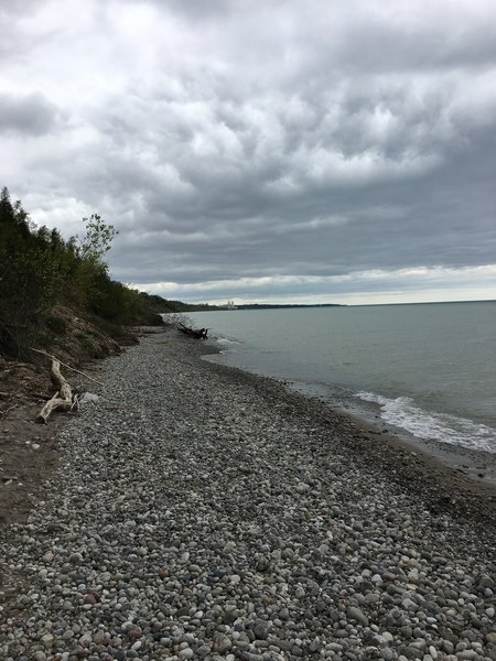 The trail ends into a beautiful lakeshore.