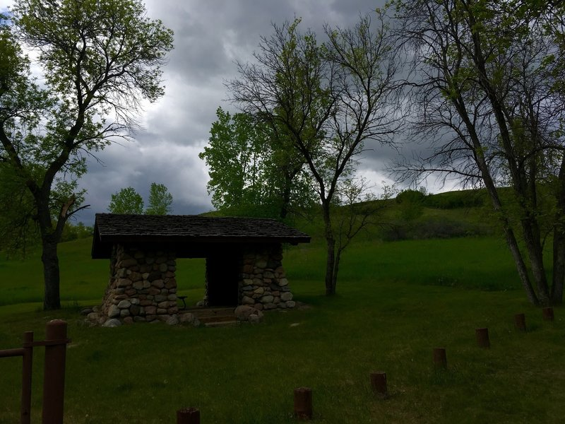 This trailhead structure provides shelter when the rains move in.