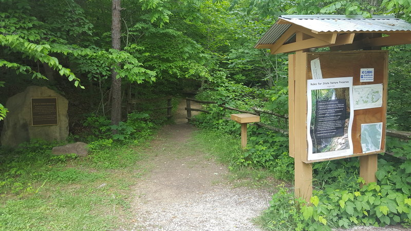 This kiosk marks the entrance to the Anglin Falls Trail.