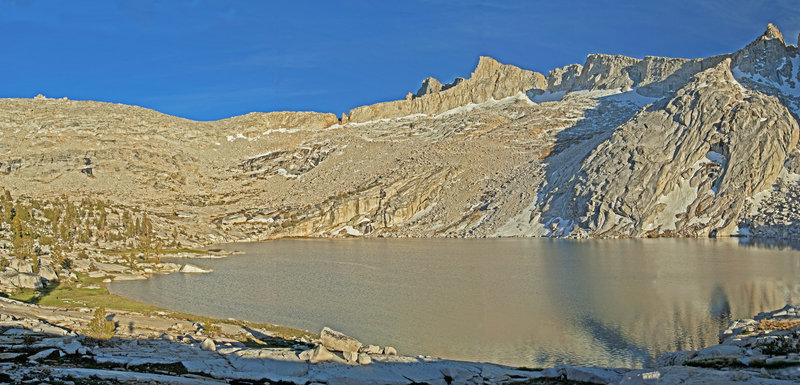 Cathedral Lake and Finger Col glimmer in the evening light.