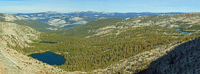 This view from Blackcap Gap is looking toward Guest and the Upper McGuire Lakes with Colt and Horsehead Lakes on the right side.