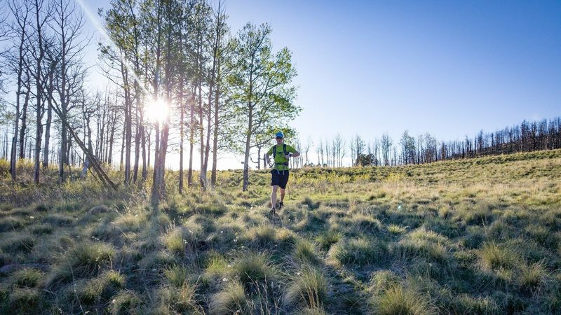 Running the sweet singletrack near the saddle of Cañon de Valle. The saddle is between Cerro Grande and Pajarito Mountain and allows easy access into the Valles Caldera.