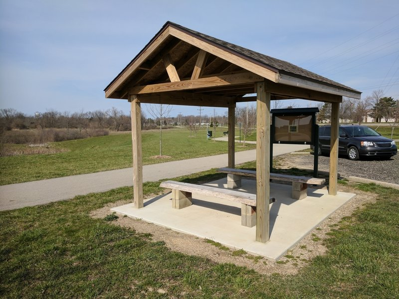 A pavilion provides information and shade at the M-34/Morey Hwy trailhead.