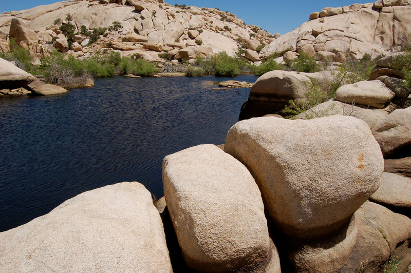 Boulders and rocks line the Barker Dam.