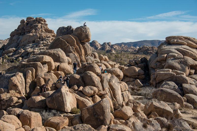 Visitors explore the rocks near the trailhead of the Quail Springs Trail. Photo credit: NPS/Lian Law.