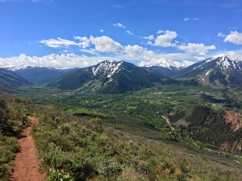 On a clear day, both Aspen and Independence Pass can be seen from the Sunnyside Trail.
