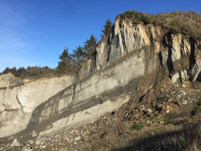 Check out this eroding bluff at Guthrie Creek Beach near the end of the trail.