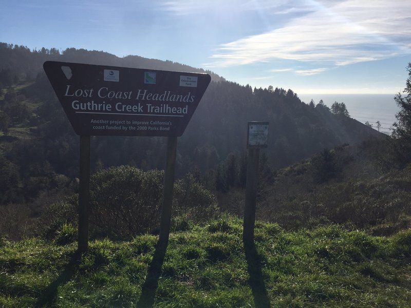 Guthrie Creek Trailhead is marked by this huge sign.