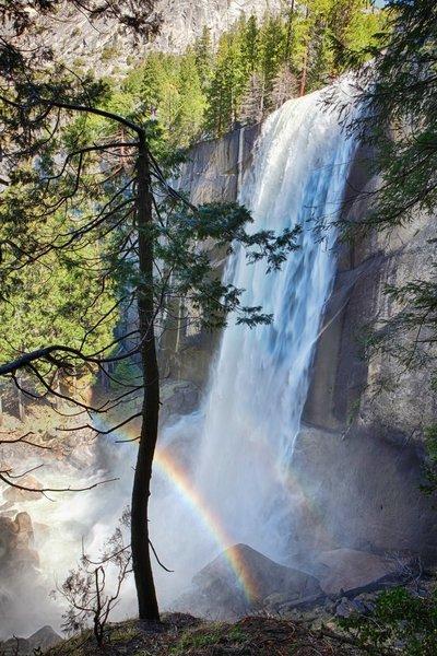 The mist from Vernal Falls often creates a beautiful rainbow.